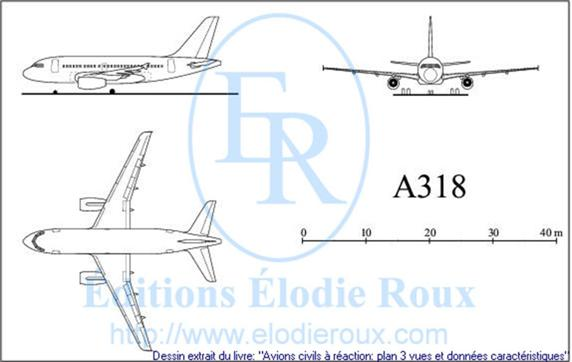 Copyright: Elodie Roux/A318 3-view drawing/plan 3 vues
