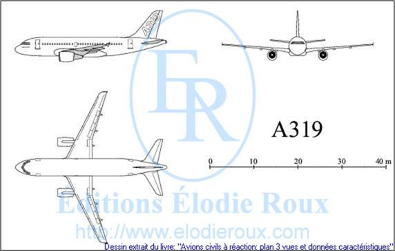 Copyright: Elodie Roux/A319 3-view drawing/plan 3 vues