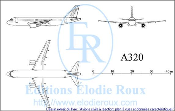 Les Editions Elodie Roux A320 3 View Drawings