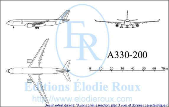 Copyright: Elodie Roux/A330-200 3-view drawing/plan 3 vues