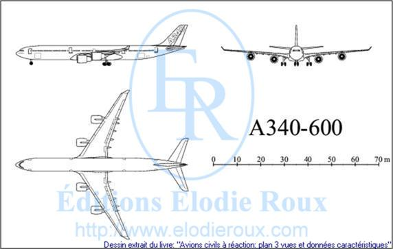 Copyright: Elodie Roux/A340-600 3-view drawing/plan 3 vues