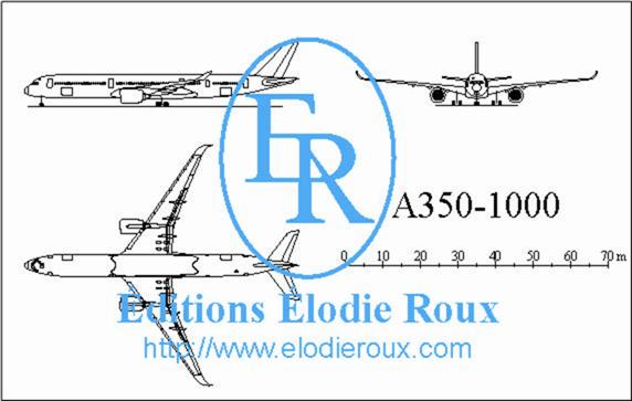 Copyright: Elodie Roux/A350-1000 3-view drawing/plan 3 vues