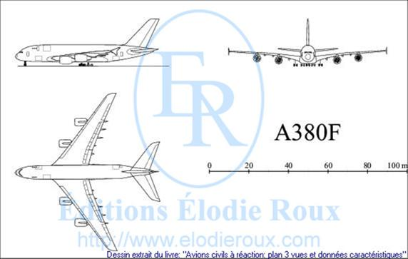 Copyright: Elodie Roux/A380F 3-view drawing/plan 3 vues