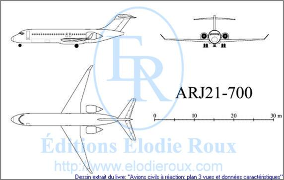 Copyright: Elodie Roux/ARJ21-700 3-view drawing/plan 3 vues
