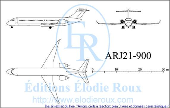 Copyright: Elodie Roux/ARJ21-900 3-view drawing/plan 3 vues