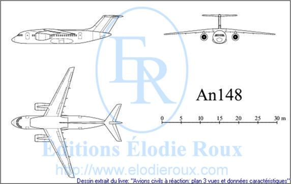 Copyright: Elodie Roux/An148 3-view drawing/plan 3 vues