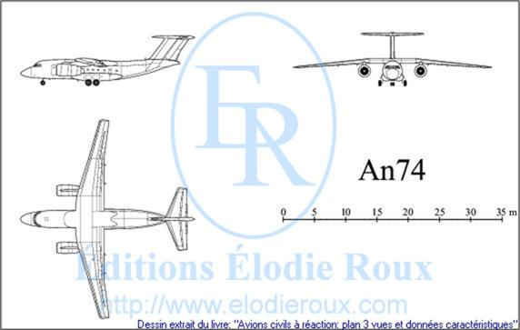 Copyright: Elodie Roux/An74 3-view drawing/plan 3 vues
