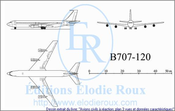 Copyright: Elodie Roux/B707-120 3-view drawing/plan 3 vues