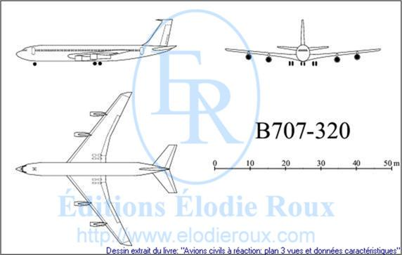 Copyright: Elodie Roux/B707-320 3-view drawing/plan 3 vues
