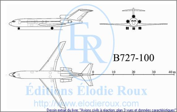 Copyright: Elodie Roux/B727-100 3-view drawing/plan 3 vues