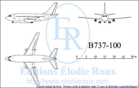 Copyright: Elodie Roux/B737-100 3-view drawing/plan 3 vues