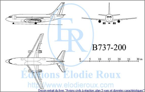 Copyright: Elodie Roux/B737-200 3-view drawing/plan 3 vues
