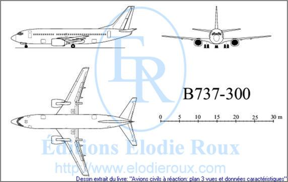 Copyright: Elodie Roux/B737-300 3-view drawing/plan 3 vues