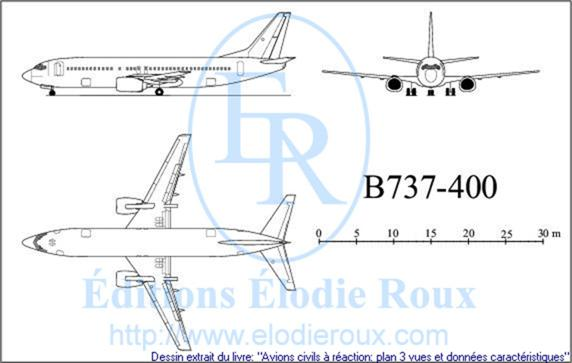 Copyright: Elodie Roux/B737-400 3-view drawing/plan 3 vues
