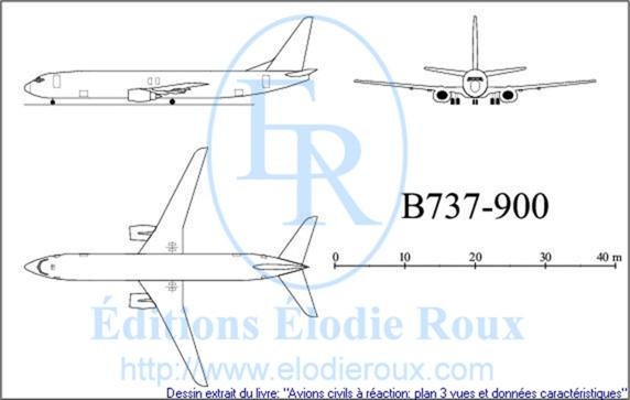 Copyright: Elodie Roux/B737-900 3-view drawing/plan 3 vues