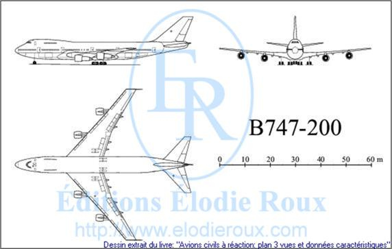 Copyright: Elodie Roux/B747-200 3-view drawing/plan 3 vues
