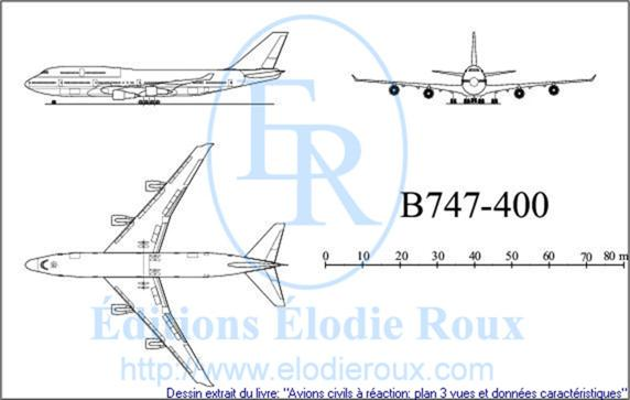 Copyright: Elodie Roux/B747-400 3-view drawing/plan 3 vues
