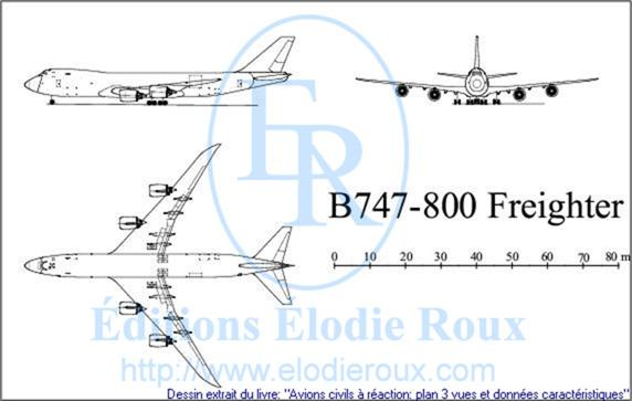 Copyright: Elodie Roux/B747-800Freighter 3-view drawing/plan 3 vues