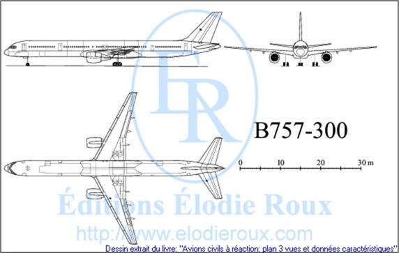 Copyright: Elodie Roux/B757-300 3-view drawing/plan 3 vues
