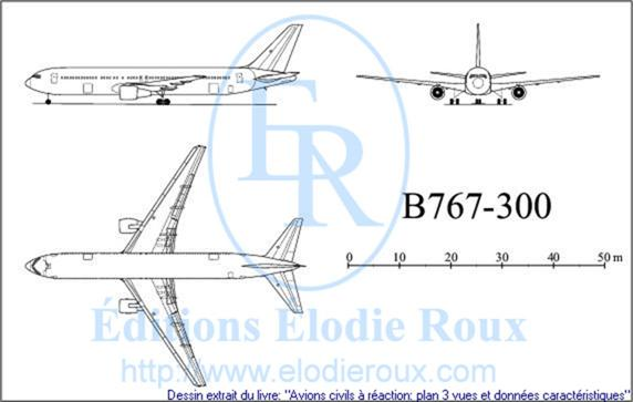 Copyright: Elodie Roux/B767-300 3-view drawing/plan 3 vues