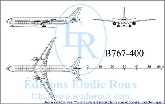 Copyright: Elodie Roux/B767-400 3-view drawing/plan 3 vues