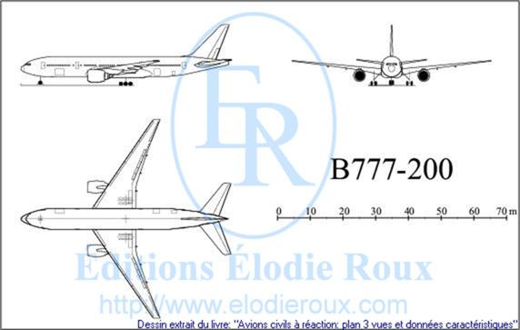 Copyright: Elodie Roux/B777-200 3-view drawing/plan 3 vues
