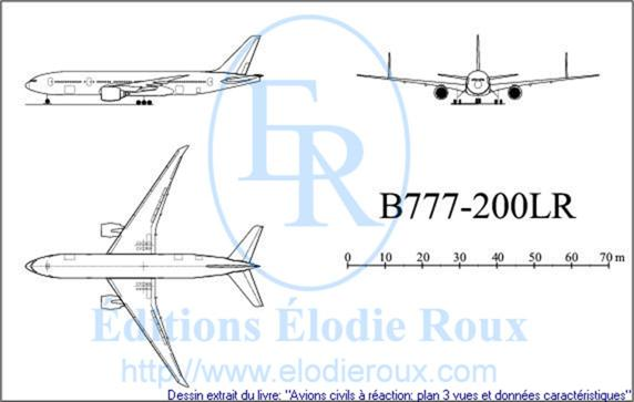 Copyright: Elodie Roux/B777-200LR 3-view drawing/plan 3 vues