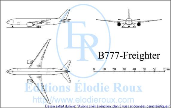 Copyright: Elodie Roux/B777-Freighter 3-view drawing/plan 3 vues