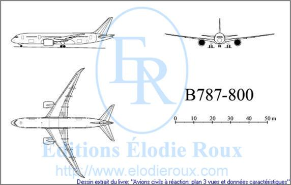 Copyright: Elodie Roux/B787-800 3-view drawing/plan 3 vues