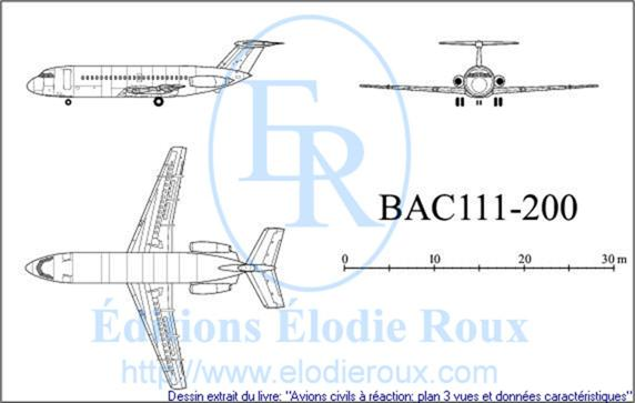 Copyright: Elodie Roux/BAC111-200 3-view drawing/plan 3 vues