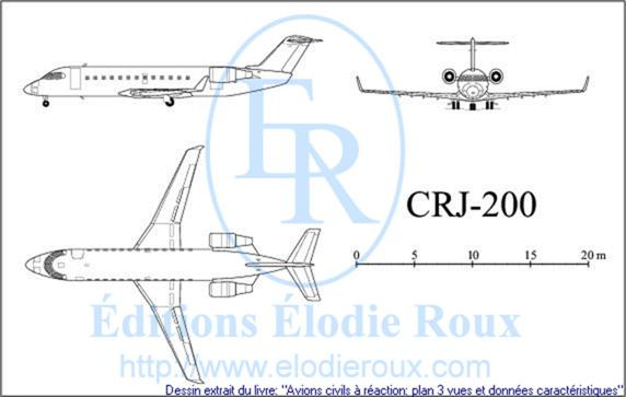 Copyright: Elodie Roux/CRJ200 3-view drawing/plan 3 vues