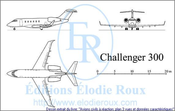 Copyright: Elodie Roux/Challenger300 3-view drawing/plan 3 vues