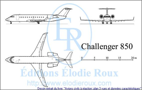 Copyright: Elodie Roux/Challenger850 3-view drawing/plan 3 vues