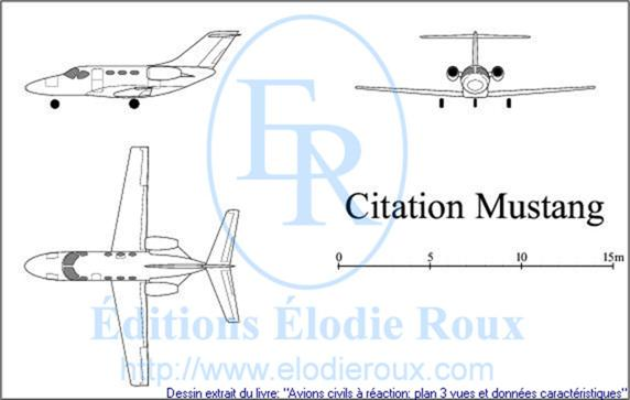 Copyright: Elodie Roux/CitationMustang 3-view drawing/plan 3 vues