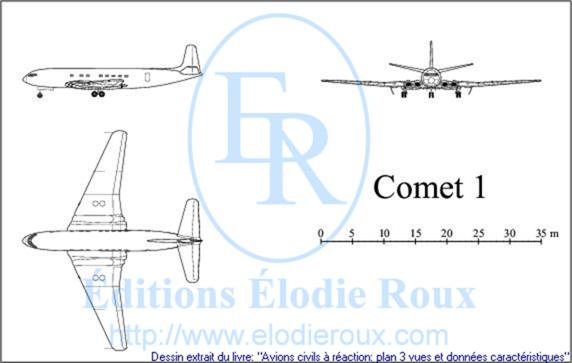 Copyright: Elodie Roux/Comet1 3-view drawing/plan 3 vues