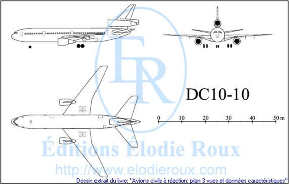 Copyright: Elodie Roux/DC10-10 3-view drawing/plan 3 vues
