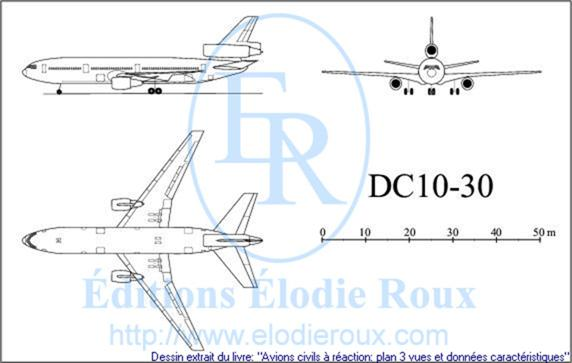 Copyright: Elodie Roux/DC10-30 3-view drawing/plan 3 vues