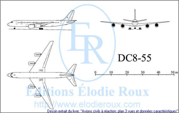 Copyright: Elodie Roux/DC8-55 3-view drawing/plan 3 vues