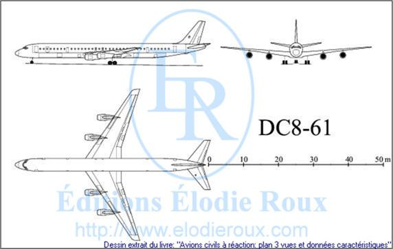 Copyright: Elodie Roux/DC8-61 3-view drawing/plan 3 vues