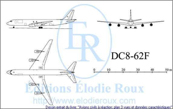 Copyright: Elodie Roux/DC8-62F 3-view drawing/plan 3 vues
