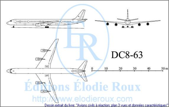 Copyright: Elodie Roux/DC8-63 3-view drawing/plan 3 vues