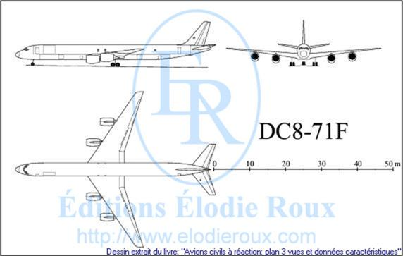 Copyright: Elodie Roux/DC8-71F 3-view drawing/plan 3 vues