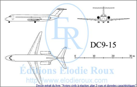 Copyright: Elodie Roux/DC9-15 3-view drawing/plan 3 vues