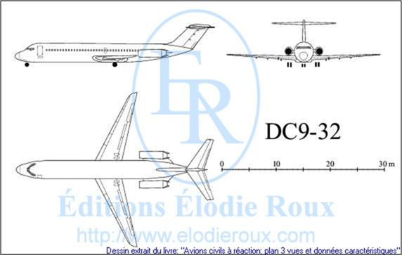 Copyright: Elodie Roux/DC9-32 3-view drawing/plan 3 vues
