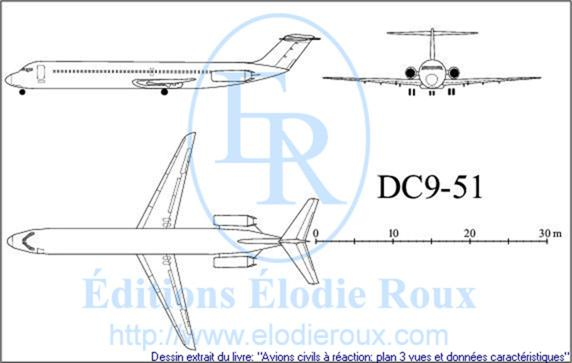 Copyright: Elodie Roux/DC9-51 3-view drawing/plan 3 vues