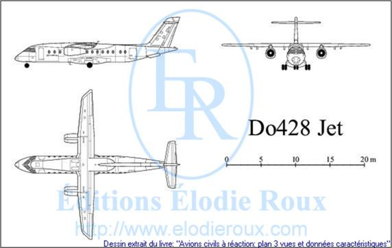 Copyright: Elodie Roux/Do428JET 3-view drawing/plan 3 vues