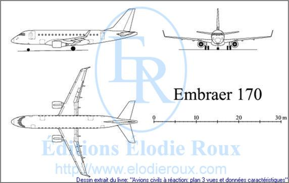 Copyright: Elodie Roux/EMBRAER170 3-view drawing/plan 3 vues