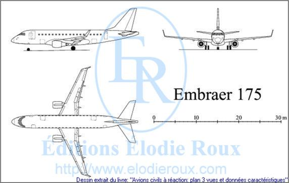 Copyright: Elodie Roux/EMBRAER175 3-view drawing/plan 3 vues