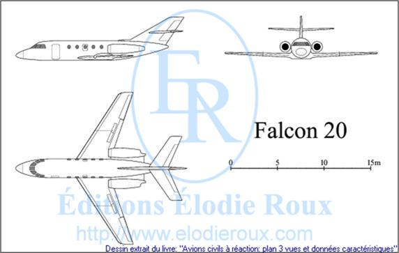 Copyright: Elodie Roux/Falcon20 3-view drawing/plan 3 vues