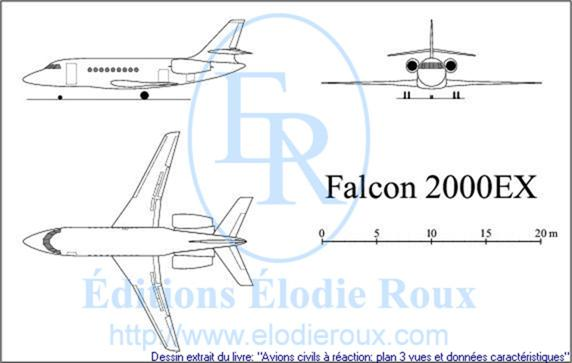 Copyright: Elodie Roux/Falcon2000EX 3-view drawing/plan 3 vues